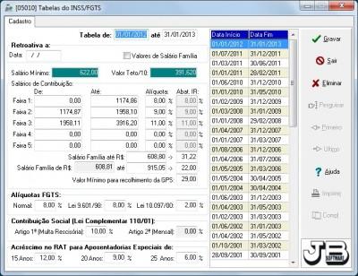 Tabela INSS para 2012